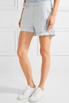 Paskal - Ruffle-trimmed Cotton-blend Shorts - Sky blue - small
