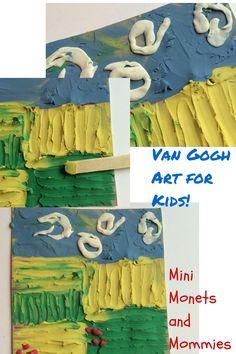 Van Gogh Art Activity: Kids' Clay Famous Artist Project Mini Monets and Mommies: Van Gogh Art Activi Diego Rivera, Kindergarten Art, Preschool Art, Henri Matisse, Artists For Kids, Art For Kids, Monet, Famous Art Paintings, Oil Paintings