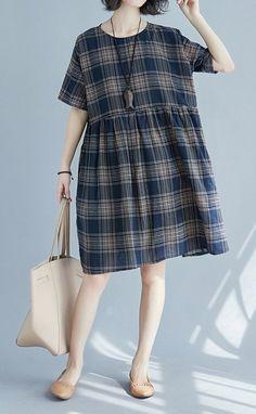 Women loose fit pocket dress checkered skater skirt tunic short sleeve casual #unbranded #dress