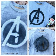 Tutorial on how to make Avengers Party T-Shirts with an Avengers template and  spray paint.  Simple and inexpensive!