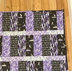 Wellness and exercise 44 x 56 handmade | Etsy Picnic Quilt, Violet Background, Welcome Home Gifts, Purple Quilts, Quilted Gifts, Custom Quilts, Monogram Letters, Baby Quilts, Special Gifts