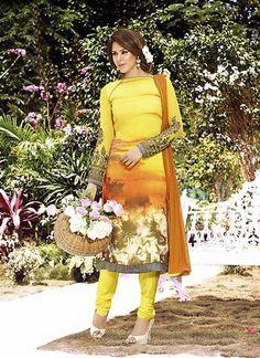 Yellow & Georgette Straight Cut Salwar Kameez Online ,Indian Dresses