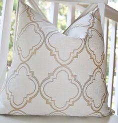 Decorative Pillow Ivory Gold Silver Grey Moroccan Designer Pillow Cover 18 x 18 - Throw Pillow - Gold Pillow - Silver Pillow. $50.00, via Etsy.