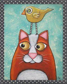 Folk Art Cat Bird PRINT of original mixed media painting by Lori Ramotar