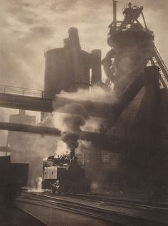 Steam and sunshine, Newcastle BHP, (1934) by Harold Cazneaux :: The Collection :: Art Gallery NSW