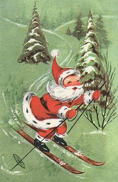 How Santa builds off all those Christmas cookie calories! :) #Christmas #vintage #Santa