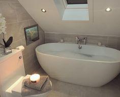 Pin By Yosephine Tham On Home Decor Loft Bathroom Family Bathroom Small Bathroom Sinks, Bathroom Tub, Small Attic Bathroom, Bathroom Makeover, Family Bathroom, Bathroom, Rustic Bathrooms, Loft Bathroom, Luxury Bathroom