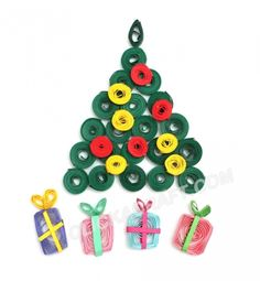 """Quilling Card """"Christmas Tree"""" - Click on image to see step-by-step tutorial."""