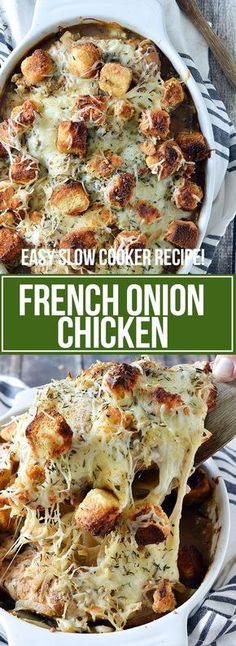 SLOW COOKER FRENCH ONION CHICKEN Healthy Crockpot Recipes, Slow Cooker Recipes, Beef Recipes, Cooking Recipes, Chicken Recipes, Onion Recipes, Thyme Recipes, Cabbage Recipes, East Crockpot Meals