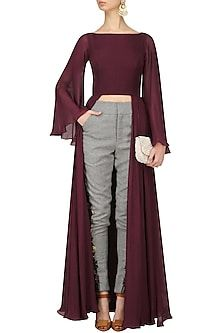 Deepankshi and Reena Oxblood Crop Top and Grey Tweed Trousers Set Kurti Designs Party Wear, Kurta Designs, Blouse Designs, Fashion Mode, Hijab Fashion, Fashion Dresses, Western Dresses, Indian Dresses, Indian Designer Outfits