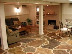 More stained concrete - this is shown as a basement flooring option, but I'd use it on my back porch / lanai