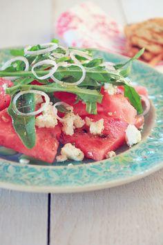 Watermelon & Feta Salad / Wassermelonen & Feta Salat {flowers on my plate}