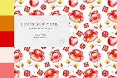 Lunar New year Watercolor Patterns by Olga,koelsch Lunar New, Watercolor Pattern, Textile Prints, Botanical Illustration, Home Textile, Print Patterns, Pattern Design, Digital, Paper