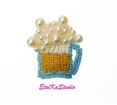 BEER MUG beaded patch, pearl patch embellishment, drink patch, beer jug, beer cup, fun 3D sew on app Amazon Gifts, Applique Designs, Embellishments, Crochet Necklace, Patches, Beer, 3d, Drink, Pearls