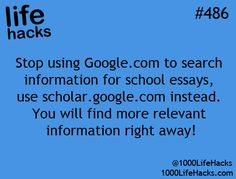 To find relevant information for your essay right away, use Google Scholar. good to know