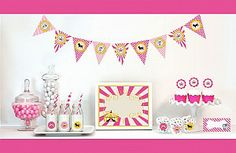 Pink Circus Carnival Party Decorations Kit Includes: Pennant Banner, Party Sign, Hot Pink Striped Paper Straws, Cupcake Wrappers and Toppers, Menu Cards/Place Cards and Decorative Round Stickers