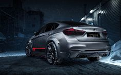 Download wallpapers GRTuning, tuning, BMW X6M, F16, winter, silver X6M, german cars, BMW