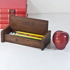 Rustic Wooden Pencil Case Vintage Pen and Pencil by CozyTraditions