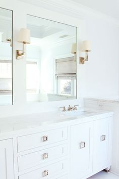 All white with metallic accents