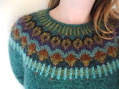 Beautiful colours on this yoke jumper: Lovewool-Knits' Gemini Pullover Lagoon Heather (MC) Knit Stranded, Icelandic Sweaters, Fair Isle Pattern, Fair Isle Knitting, Fair Isles, Pulls, Knitting Projects, Knitwear, Knitting Patterns