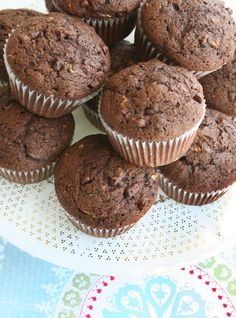 I don't know if I like them because they're chocolate or because they have zucchini in them, but these Very Chocolate Zucchini Muffins are worth a shot!