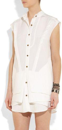 Proenza Schouler Washed Silkblend Shirt Dress in White - Lyst