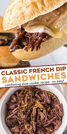 These Slow Cooker French Dip Sandwiches are made with ultra tender roasted beef, melted provolone cheese, soft hoagie bread, and dipped into an amazing au jus sauce. Perfect cold weather comfort food for the whole family! #frenchdip #sandwich #slowcooker #crockpot Delicious Crockpot Recipes, Slow Cooker Recipes, Beef Recipes, Cooking Recipes, Crockpot Meals, Yummy Recipes, Dinner Recipes, Yummy Food, Healthy Sandwich Recipes