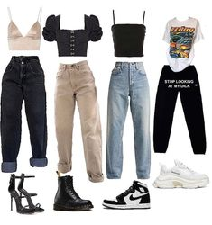 Baddie Outfits Casual, Cute Swag Outfits, Kpop Fashion Outfits, Girls Fashion Clothes, Tomboy Fashion, Simple Outfits, Streetwear Fashion, Trendy Outfits, 90s Inspired Outfits
