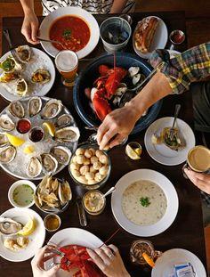 Fresh seafood dinner at Philadelphia's Oyster House Seafood Dinner, Fresh Seafood, Seafood Restaurant, Seafood Market, House Restaurant, Fresh Oysters, Sustainable Seafood, Buffet, Love Food