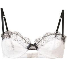 Fleur Du Mal 'Rose' lace demi bra (5,900 DOP) ❤ liked on Polyvore featuring intimates, bras, white, lace demi bra, white bra, lacy lingerie, demi cup bra and lace bra