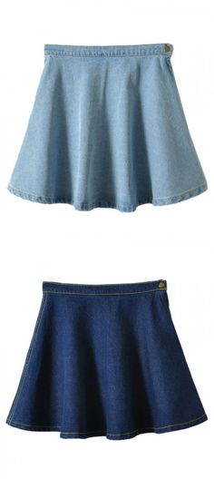 Love the fit of this blue mini skirt.