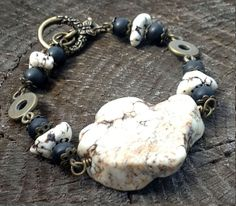 Natural White Howlite Chunky Tribal by TheBlueYonderStudio on Etsy, $39.00