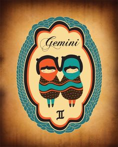 Gemini Zodiac Sign Drawing Art Print by ParadaCreations on Etsy