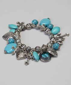 Take a look at this Turquoise Heart & Cross Charm Bracelet by Adra Jewelry on #zulily today!