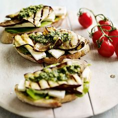 Chargrilled Aubergine Sandwich with Feta by womanandhome #Sandwich #Eggplant #Aubergine #Feta