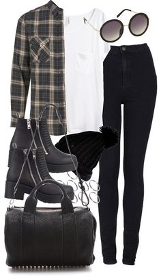 styleselection:  outfit for college by im-emma featuring a black cable knit hat