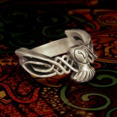 Celtic Owl Ring in Sterling Silver Traditional by CelticEternity