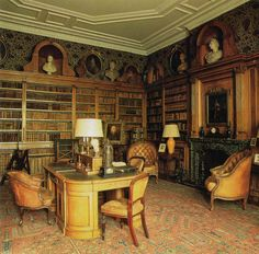The library at Wrotham Park in Hertfordshire, England. The house was built in 1754 but was gutted by fire in 1887 and rebuilt to the original. The film Gosford Park and the series Jeeves and Wooster (Aunt Dahlia's Brinkley Court) were among several projects filmed there. It is still occupied by the descendants of the family that built it.