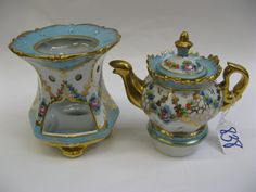 FRENCH TWO-PART PORCELAIN VEILLEUSE