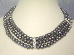 """Beautiful! 15.5""""-17.5"""" 3Rows peacock FW pearl necklace"""
