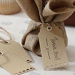 "Vintage Affair - Another ""earthy"" touch with these luggage tags which could be used for personalising napkins or wine glasses. Will go with the hessian table runner to give the whole table the same look."