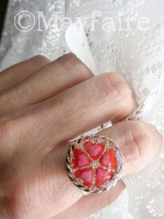 Sweethearts Silver Adjustable Resin Ring by MayfaireArt on Etsy, $14.99