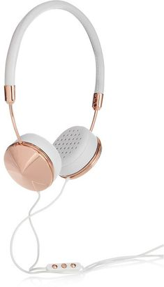 Frends - Layla Leather And Rose Gold-tone Headphones - Copper. Gorgeous tech accessories for her, girls, kids, teens, students, and women who enjoys listening to music.