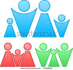 Three Abstract Family And Team Silhouette Different Colors Stock Vector 72388987 : Shutterstock