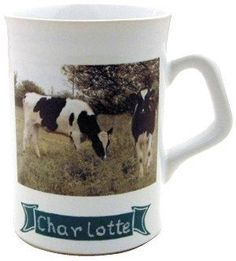 Personalised mug with Two   Cows design name free ( 12 letters Max )