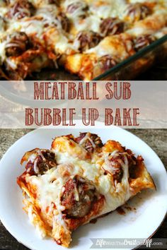 Meatball sub bubble up bake. Cooked for 40 mins but had to cover with foil for the last 10 so the cheese wouldn't burn! So easy and pretty good too!