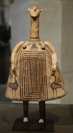 Bell idol. This terracotta figurine dates to the 7th century BC (the Late Geometric period), Central Greece