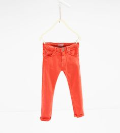 Skinny trousers - Available in more colours Skinny, Zara United States, Khaki Pants, Trousers, Barn, Kids, Monkeys, Colours, Image