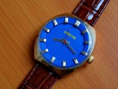 A mechanical #Raketa from the 1970s. There's lots of these chunky styles on eBay; this one is just the best colour ever and starting at $20.00. http://r.ebay.com/6nYqd3