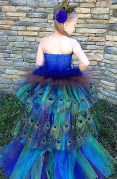 Peacock tutu feather pageant Halloween costume party dress by www.blissycouture.net